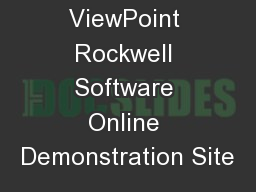 FactoryTalk  ViewPoint Rockwell Software Online Demonstration Site