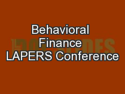 Behavioral Finance LAPERS Conference