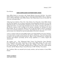 January   Press Release Jamia condoles Janab Syed Hami