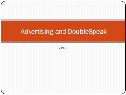 1984 Advertising and  DoubleSpeak