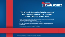 The Whoosh: Innovative Data Exchange to Save Time and Improve Care in Hawaii, Boston EMA, and Riker