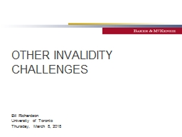 OTHER INVALIDITY CHALLENGES