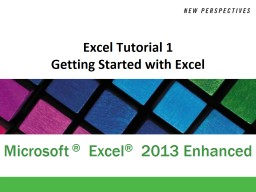 Excel Tutorial 1 Getting Started with Excel PowerPoint PPT Presentation