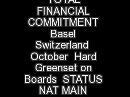 CITY COUNTRY TOURNAMENT DATES SURFACE TOTAL FINANCIAL COMMITMENT Basel Switzerland  October  Hard Greenset on Boards  STATUS NAT MAIN DRAW SINGLES  SUI LUX POL UZB FIN V
