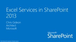 Excel  Services  in SharePoint 2013