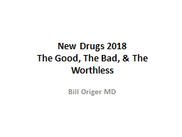 New Drugs 2018 The Good, The Bad, & The Worthless
