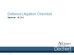 Defense Litigation Checklist