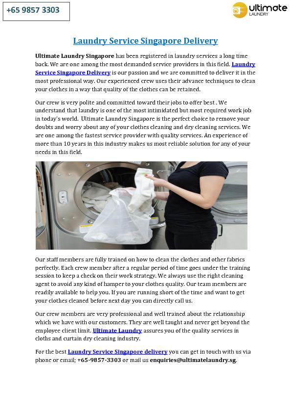 Laundry Service Singapore Delivery
