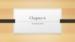 Chapter 6 The Periodic Table PowerPoint PPT Presentation