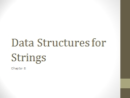 Data Structures for Strings