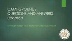CAMPGROUNDS QUESTIONS AND
