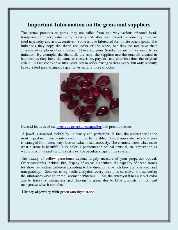 Important Information on the gems and suppliers