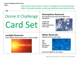 Dome It Challenge Cards & Cycles
