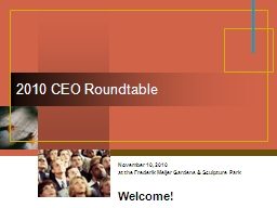 2010 CEO Roundtable November 10, 2010 PowerPoint PPT Presentation