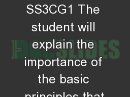 Branches of Government SS3CG1 The student will explain the importance of the basic principles that