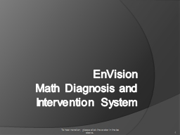 EnVision Math Diagnosis and Intervention System
