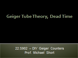 Geiger Tube Theory, Dead Time