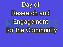Day of Research and Engagement for the Community