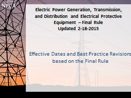 Electric Power Generation, Transmission, and Distribution and Electrical Protective Equipment – F PowerPoint PPT Presentation