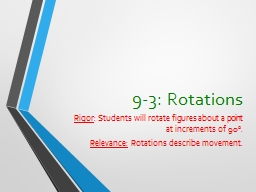 9-3: Rotations Rigor : Students will rotate figures about a point
