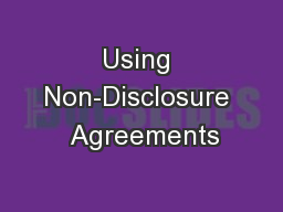 Using Non-Disclosure  Agreements
