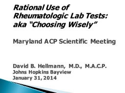 Rational Use of  Rheumatologic