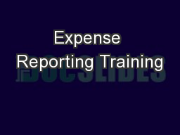 Expense Reporting Training