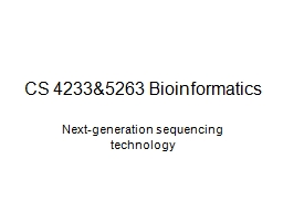 CS  4233&5263 Bioinformatics