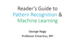Reader's Guide to  Pattern Recognition