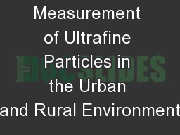 Long-term Measurement of Ultrafine Particles in the Urban and Rural Environment