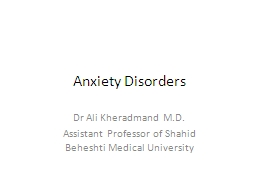 Anxiety Disorders Dr  Ali