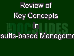 Review of Key Concepts in Results-based Management