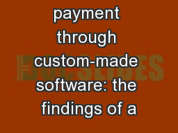 Market fee payment through custom-made software: the findings of a