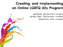 Creating and Implementing an Online LGBTQ Ally Program