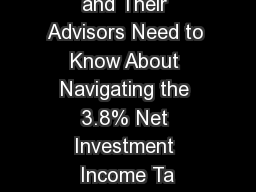 What Fiduciaries and Their Advisors Need to Know About Navigating the 3.8% Net Investment Income Ta