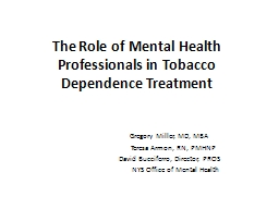 The Role of Mental Health Professionals in Tobacco Dependence Treatment