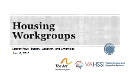 Housing Workgroups Session Four: Budget, Location, and Amenities