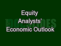 Equity Analysts� Economic Outlook