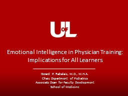 Emotional Intelligence in Physician Training: