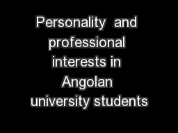 Personality  and professional interests in Angolan university students