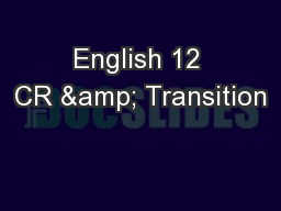 English 12 CR & Transition