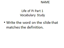 NAME Life of Pi Part 1