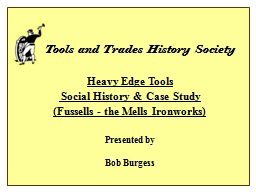 Tools and Trades History Society PowerPoint PPT Presentation