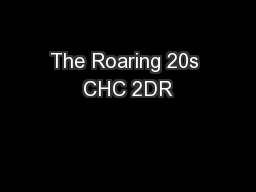The Roaring 20s CHC 2DR