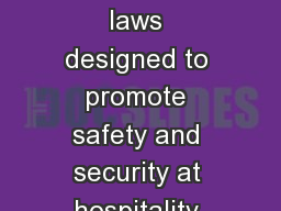 5.01 Understand rules and laws designed to promote safety and security at hospitality and tourism d
