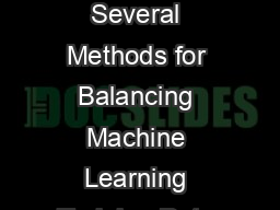A Study of the Behavior of Several Methods for Balancing Machine Learning Training Data Gustavo E