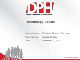 Technology Update Nutrition Services Directors