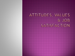 Attitudes, Values & Job Satisfaction PowerPoint PPT Presentation
