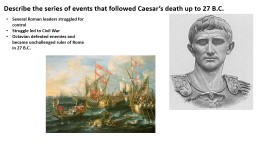 Describe the series of events that followed Caesar's death up to 27 B.C.