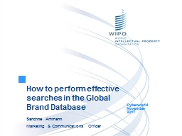 How to perform effective searches in the Global Brand Database